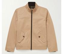 Corduroy-Trimmed Cotton-Twill Harrington Jacket