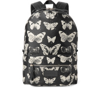 Leather-trimmed Moth-print Twill Backpack
