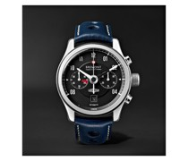 MKII Jaguar Automatic Chronograph 43mm Stainless Steel and Leather Watch, Ref. No. J-MKII-BK-R-S