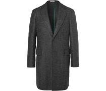 Grey Speck Herringbone Virgin Wool-blend Coat