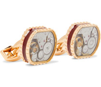 Gear Rose Gold-Plated And Enamel Cufflinks