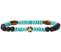 Bead, Tiger's Eye And Gold-tone Bracelet