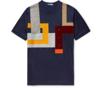 Slim-fit Patchwork Cotton-jersey T-shirt