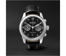 Alt1-classic/pb Stainless Steel And Alligator Automatic Chronograph Watch