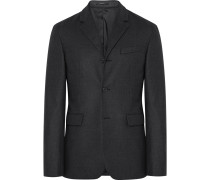 Charcoal Slim-fit Stretch-wool Flannel Blazer