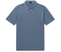 Slim-Fit Contrast-Tipped Pima Cotton-Blend Polo Shirt