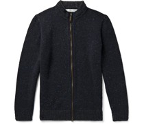Donegal Merino Wool and Cashmere-Blend Zip-Up Cardigan
