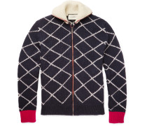 Geometric-intarsia Wool Zip-up Cardigan