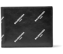 Printed Textured-leather Bifold Wallet