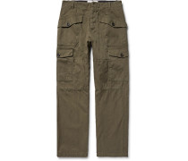 Herringbone Cotton And Linen-blend Cargo Trousers