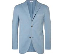 Blue Unstructured Stretch Cotton And Linen-blend Suit Jacket