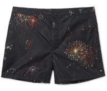 Mid-length Firework-print Swim Shorts
