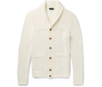Shawl-collar Ribbed Cotton Cardigan