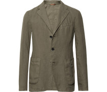 Army-green Slim-fit Unstructured Linen Blazer