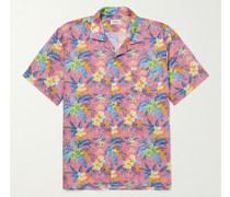 Palm MC Camp-Collar Printed Cotton and Linen-Blend Poplin Shirt