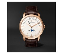 Patrimony Moon-Phase and Retrograde Date Automatic 42.5mm 18-Karat Pink Gold and Alligator Watch, Ref. No. 4010U/000R-B329