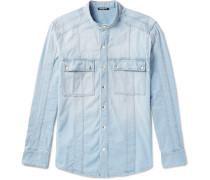 Grandad-collar Denim Shirt