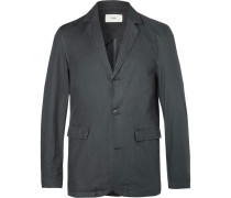 Grey Unstructured Cotton Blazer