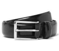 3cm Black Glossed-leather Belt