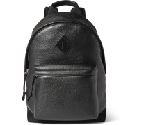 Suede-trimmed Full-grain Leather Backpack