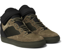 Suede, Neoprene And Mesh High-top Sneakers