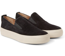 Leather-trimmed Suede Slip-on Sneakers