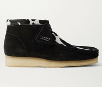 Wallabee Suede and Cow-Print Faux Pony Hair Desert Boots