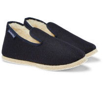 Shearling-lined Boiled Wool Slippers