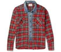 Frayed Denim-Trimmed Checked Cotton-Flannel Shirt