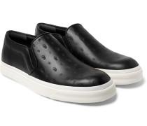 Skull-embossed Leather Slip-on Sneakers