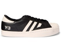 Yohji Star Suede-Trimmed Leather Sneakers