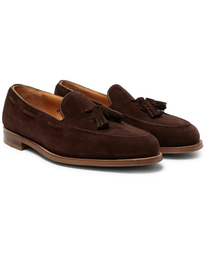 Hampstead Leather-trimmed Suede Tasselled Loafers - Dark brown