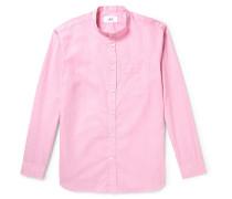 Grandad-Collar Striped Cotton-Poplin Shirt