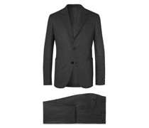 Grey Slim-Fit Brushed Cashmere and Cotton-Blend Suit