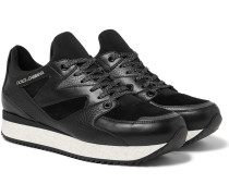 Grained-leather, Suede And Neoprene Sneakers