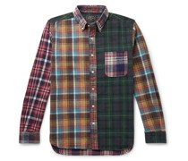 Button-Down Collar Checked Patchwork Cotton-Flannel Shirt