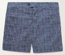Slim-Fit Mid-Length Checked Swim Shorts