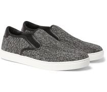 Leather-trimmed Tweed Slip-on Sneakers