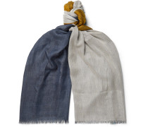 Fringed Colour-Block Cashmere and Silk-Blend Scarf