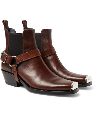 Calvin Klein Herren Distressed Embellished Harness Leather Boots Verkauf Ausgezeichnet Freies Verschiffen Erhalten Authentisch Einkaufen Mit Paypal Günstigem Preis Outlet-Preisen FRDjom5