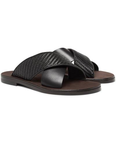 Rosario Pelle Tessuta Leather Sandals - Black