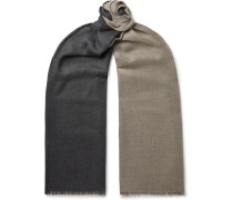 Fringed Two-Tone Cashmere and Silk-Blend Scarf