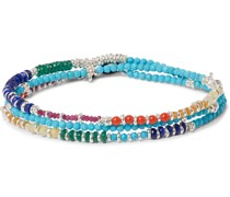 Multi-Stone and Sterling Silver Beaded Wrap Bracelet