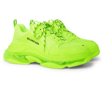 Triple S Neon Mesh and Leather Sneakers
