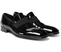 Hanover Grosgrain-trimmed Patent-leather Loafers