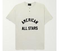 Flocked Cotton-Jersey Henley T-Shirt
