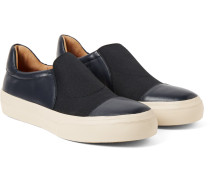 Panelled Leather Slip-on Sneakers