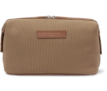 Kenyatta Leather-Trimmed Organic Cotton-Canvas Wash Bag