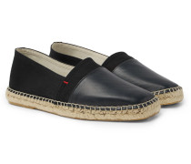 Sutton Canvas And Glossed-leather Espadrilles