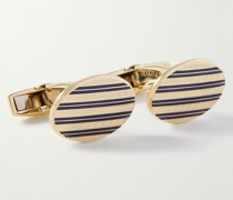 18-Karat Rose Gold and Enamel Cufflinks